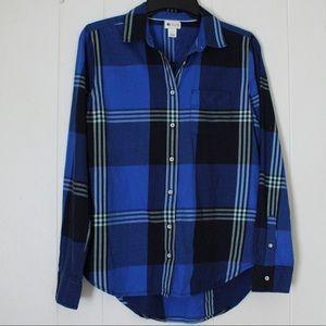 Stylus Women's Plaid High Low Button up Shirt